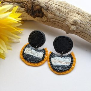 Dark grey, white and yellow stud drop earrings