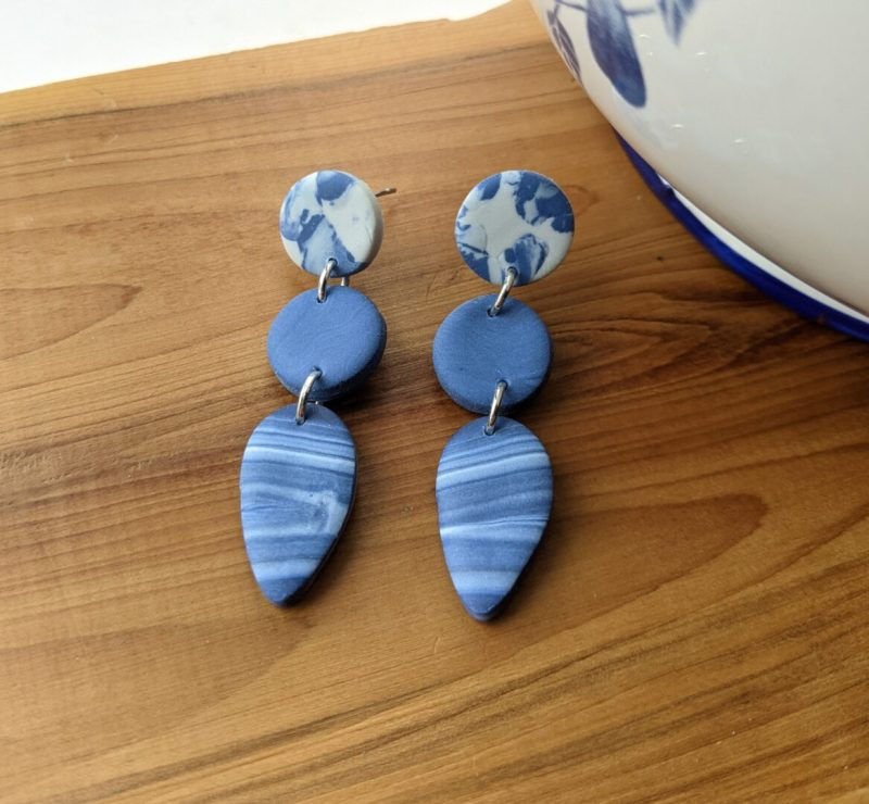 marble effect stud post dangly earrings two round and one teardrop bead
