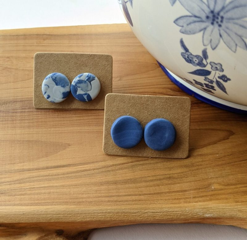 blue round studs- polymer clay beads - one marble and one blue - individually sold