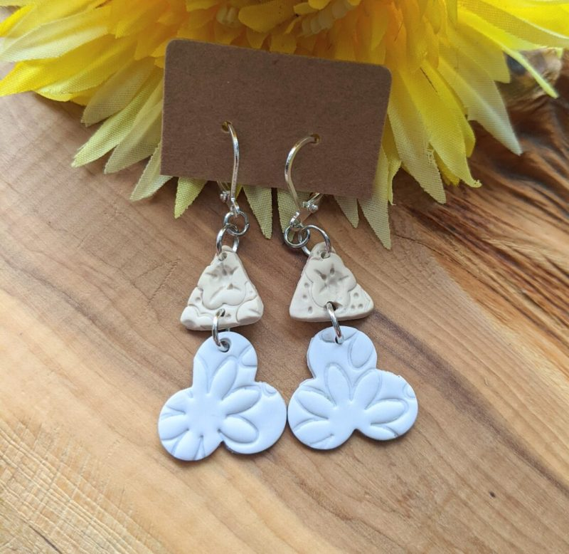Grey and neutral Flower dangly clasp hooks