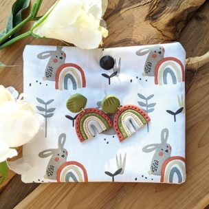 Organic natural rainbow drop earrings with matching handmade sewn, padded and poppered pouch