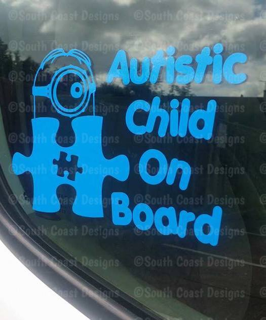 Minion Sticker With Jigsaw  Autistic Child On Board