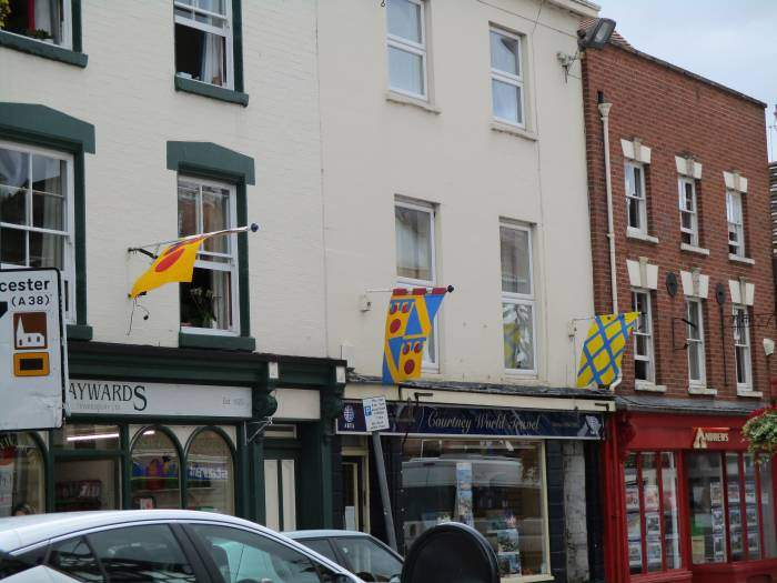 We then walk through the town, looking at the medieval banners which adorn Tewkesbury every summer.