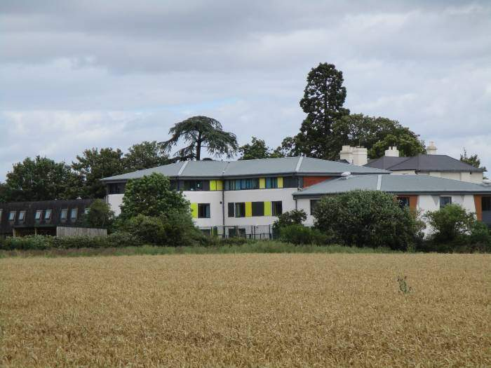 Some colourful buildings on the edge of Tewkesbury - must have got planning permission though.