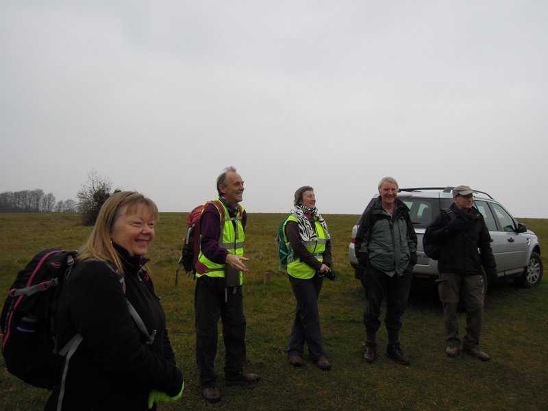 Peter and Sue meet us on Selsley Common
