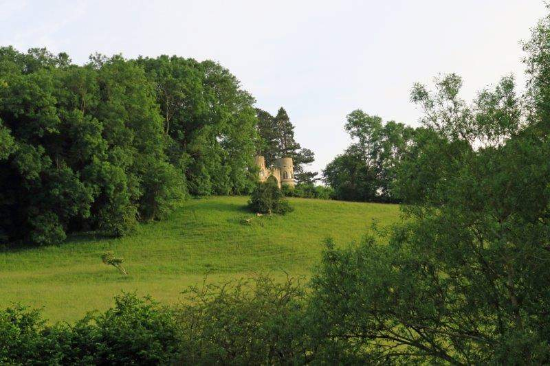 With views along the valley to the folly