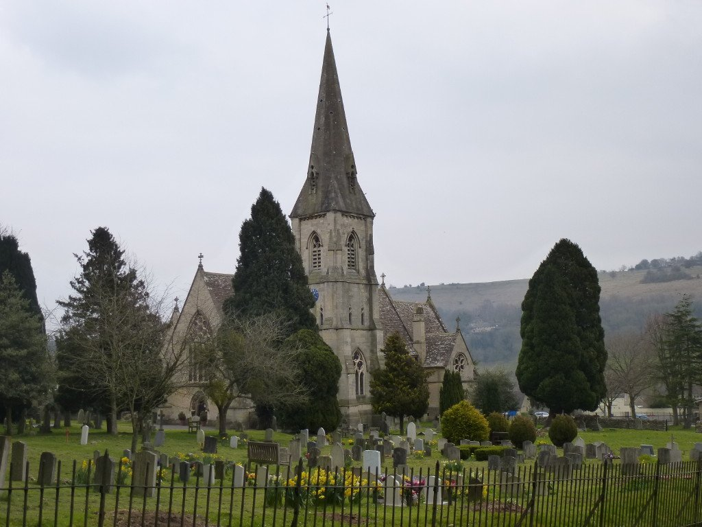 * After a snack at Woodchester Roman Villa site in the old churchyard we head through the village past the newer (1865) church