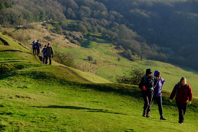 Following round the side of the hill