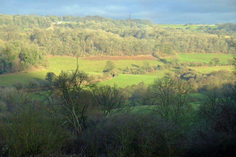 Sun shining on the hill opposite