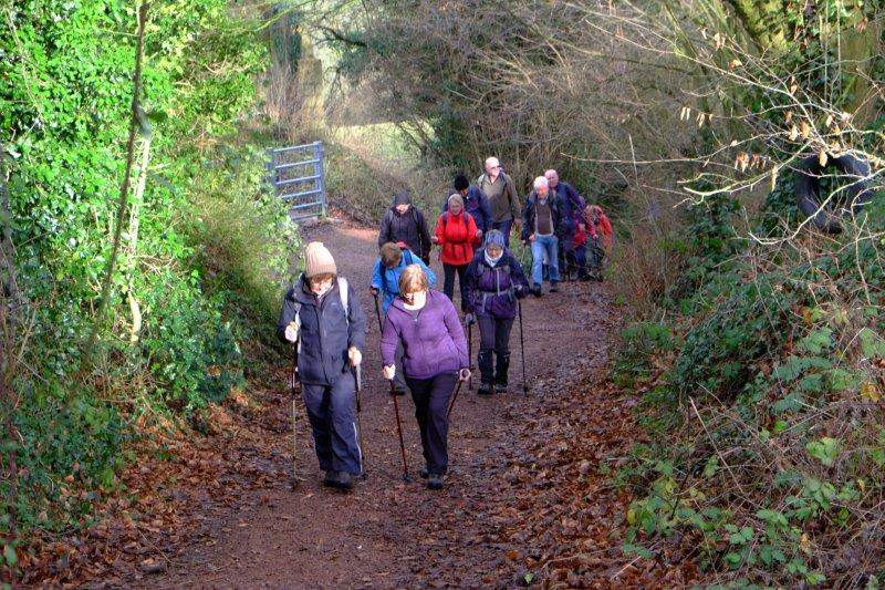 Then following the Cotswold Way uphill into Alderley