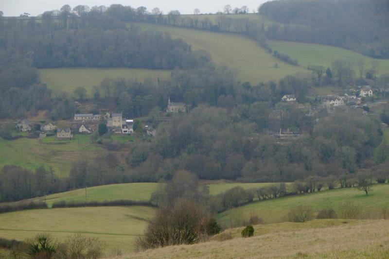 Views over to Slad School, Pub and Church