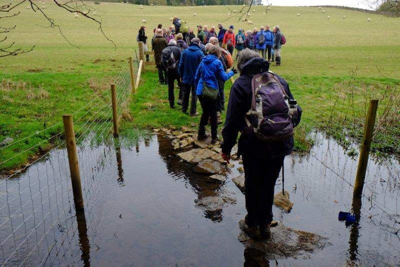 Picking our way carefully over stepping stones
