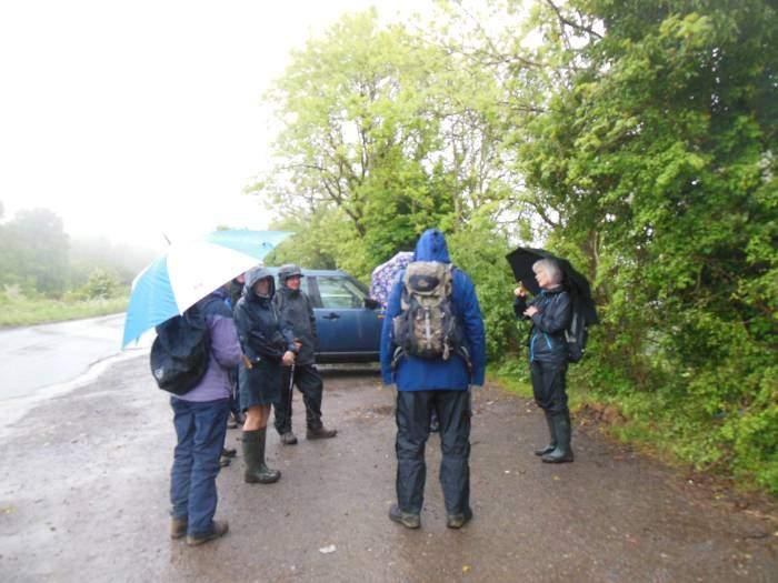 Bulls Cross, the start of a very wet walk