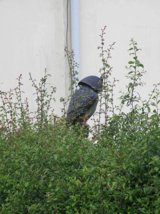 A wooden guard bird of prey