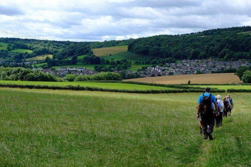 Turning downhill with Mitcheldean in front
