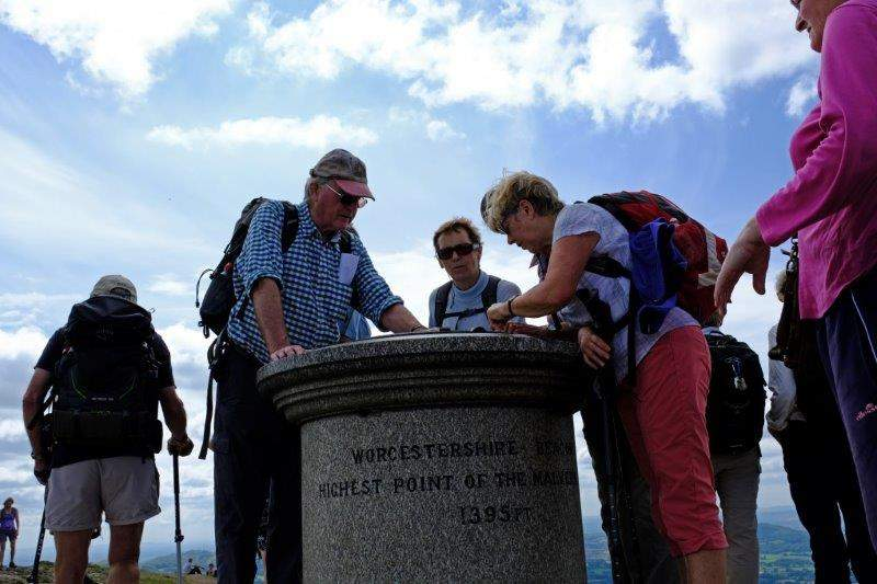 Highest point in the Malverns where we gather round the topograph