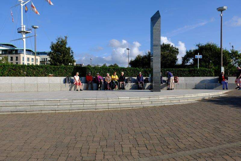 Assembled at the memorial on the Quayside ready to catch our boat to Sark