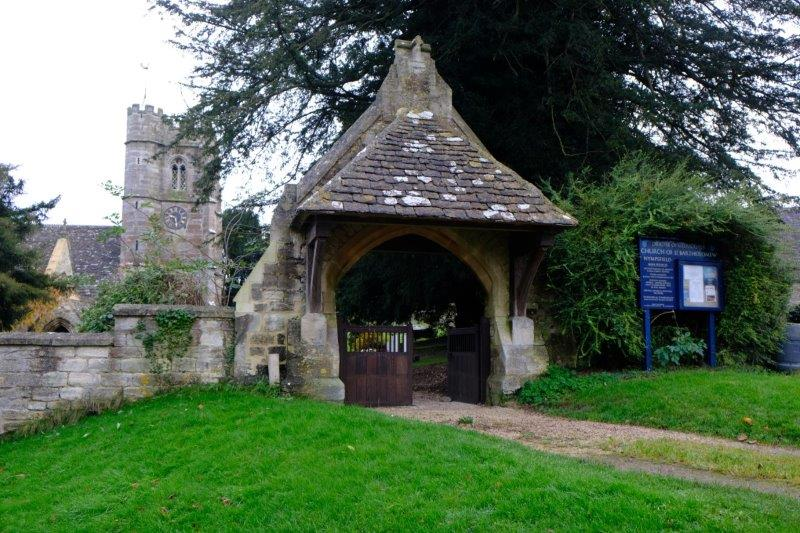 Past the church with its Lychgate