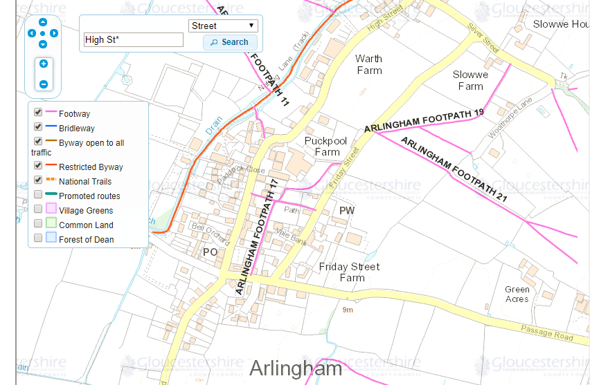 A later look at the Gloucestershire Definitive Map shows it has been diverted on to the road between paths 19 and 17. Wonder why they did not reuse the kissing gate somewhere else?
