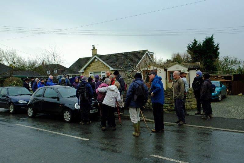 Gathering by the roadside in Coaley