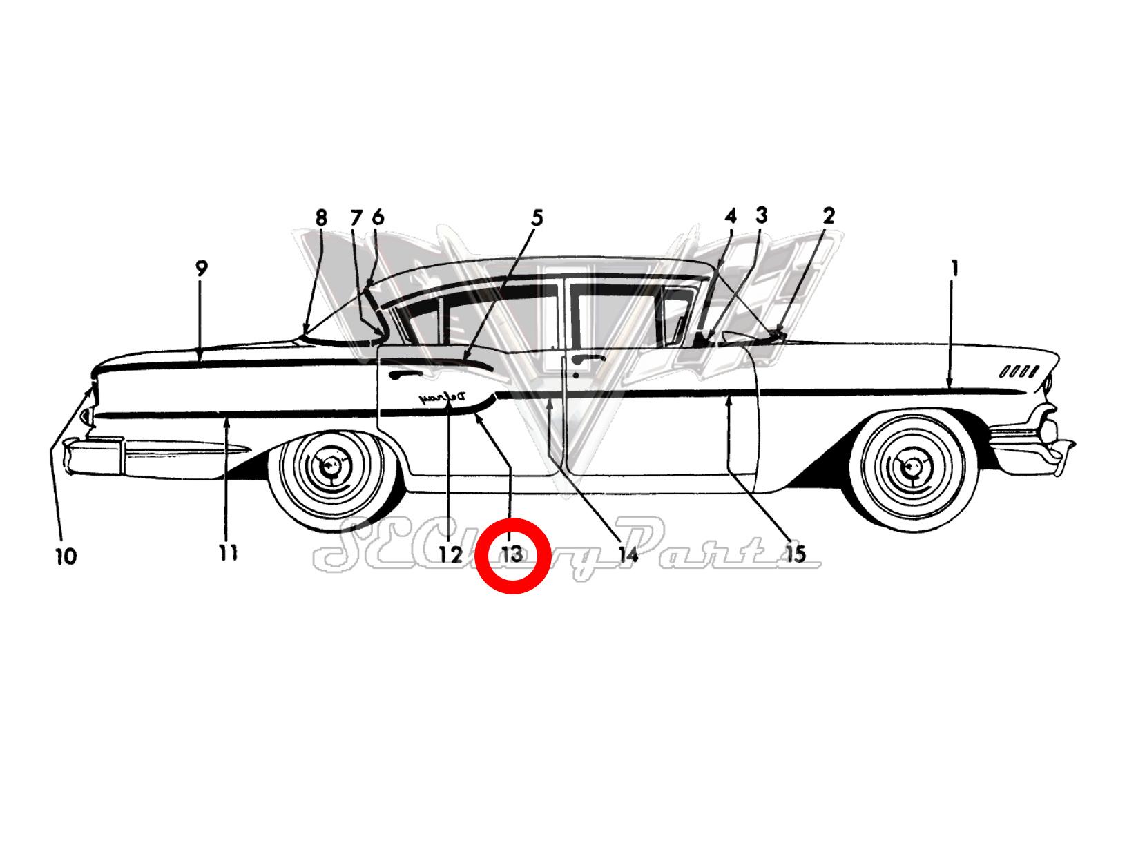 Chevy 4 Door Delray Right Rear Door Rear Trim Molding