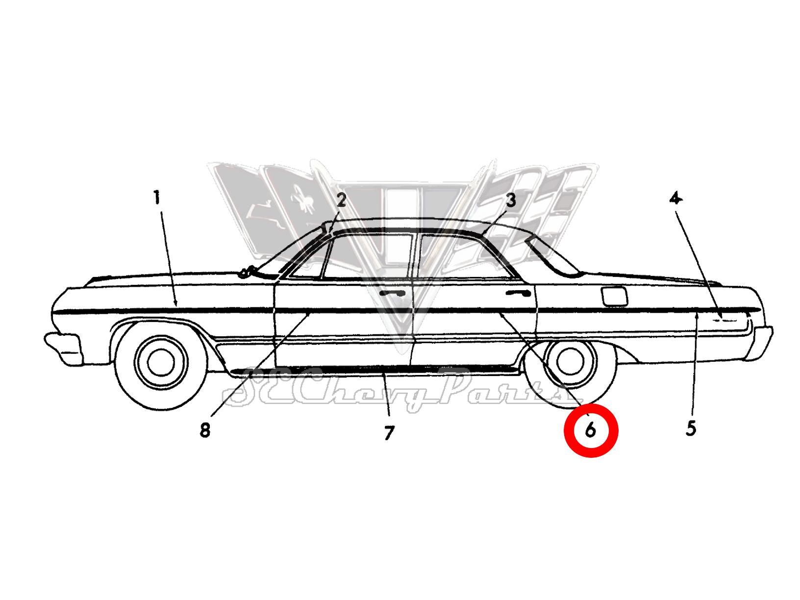 Chevy Bel Air 4 Door Sedan Wagon Nos Rear Door Trim