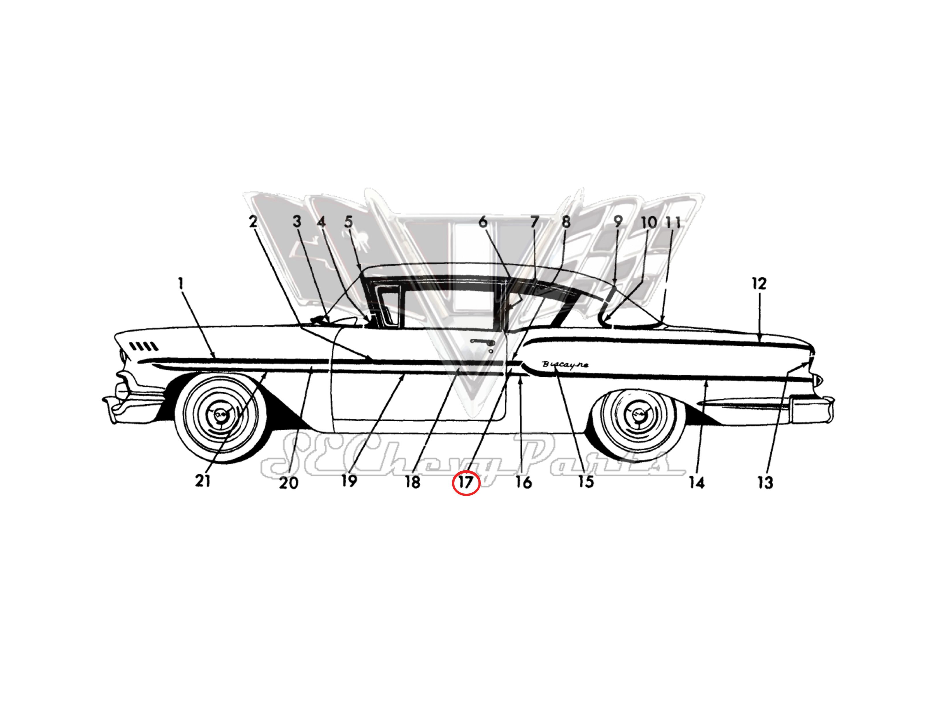 Chevy 4 Door Biscayne Delray Left Rear Door Front