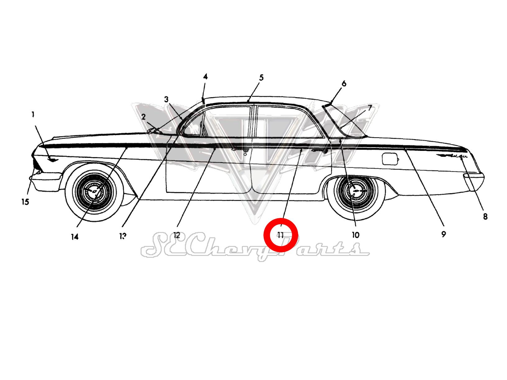 Chevy Bel Air 4 Door Sedan Nos Left Rear Door Molding