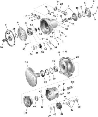 ZF PK7500 Gearbox exploded view and parts list