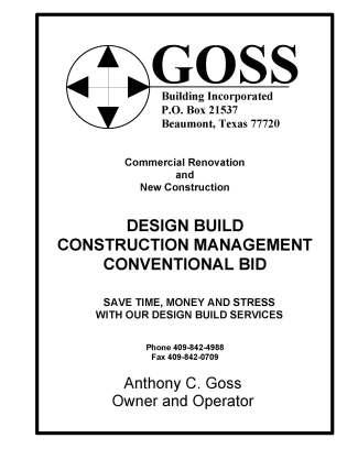 Goss Building Inc., General Contractor Beaumont TX, General Contractor Port Arthur, Contractors Mid County, Design Build Contractor Southeast Texas