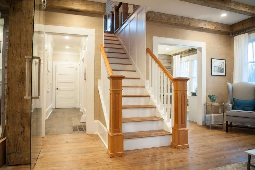 Antique Stair Parts From Reclaimed Wood Southend Reclaimed   Handrail To Newel Post   Craftsman Style   Indoor Railing   Wood   Gray Stain   White Oak