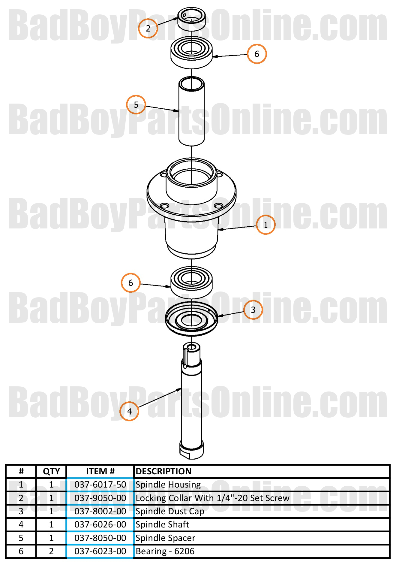 Compact Outlaw Spindle Parts And Schematic