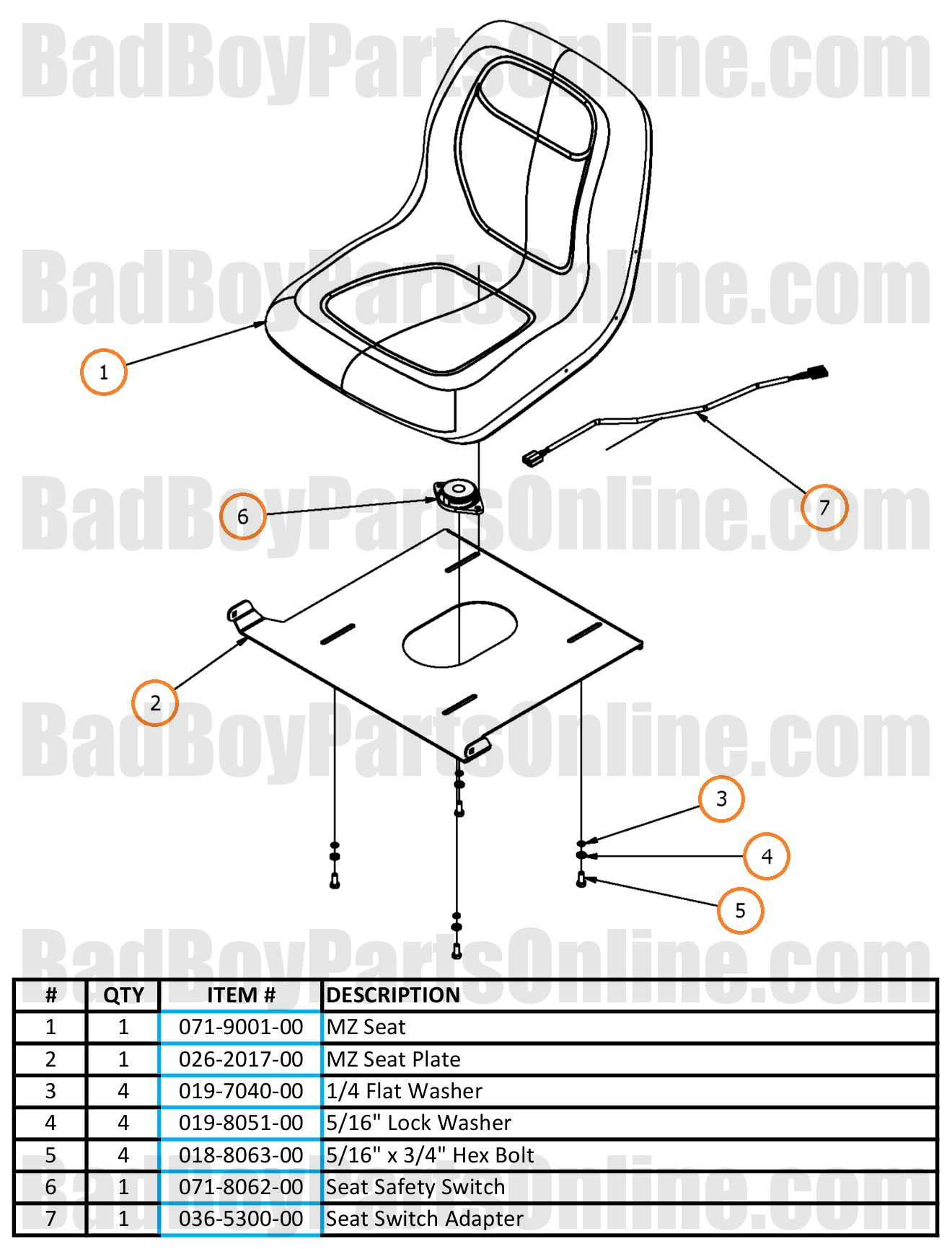 2017 MZ And MZ Magnum Seat Parts And Schematic