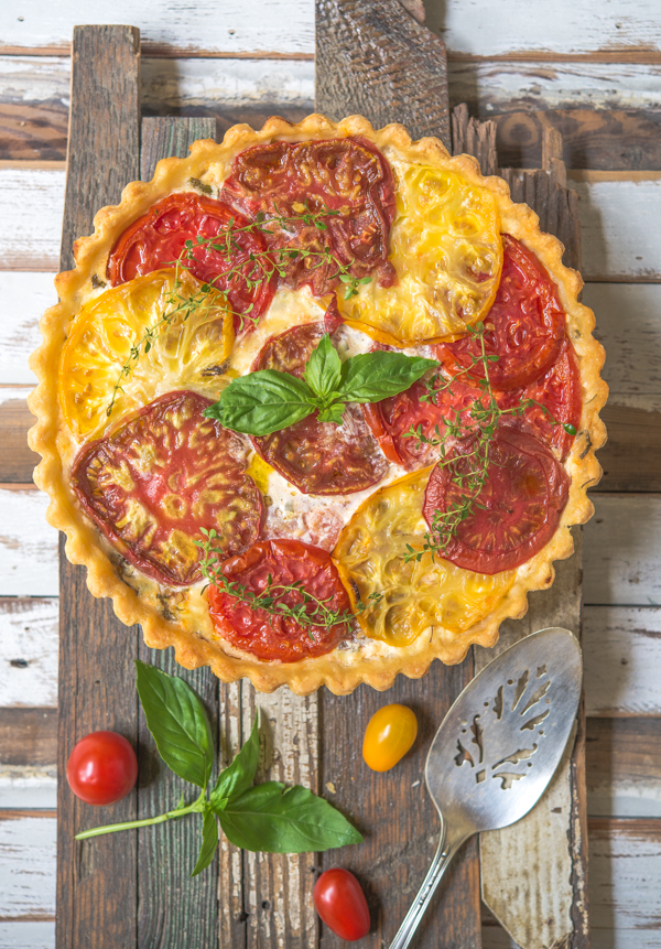 Tomato Pie with Basil and Gruyere Cheese