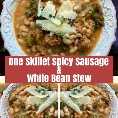 One Skillet Spicy Sausage and White Bean Stew
