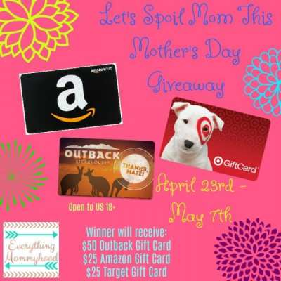 Let's Spoil Mom this Mother's Day Gift Card Giveaway! Ends 5/7