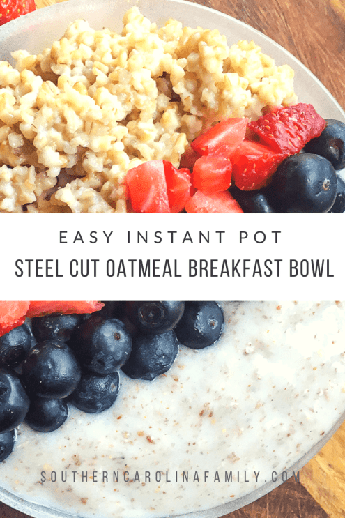 Steel cut oatmeal breakfast bowl