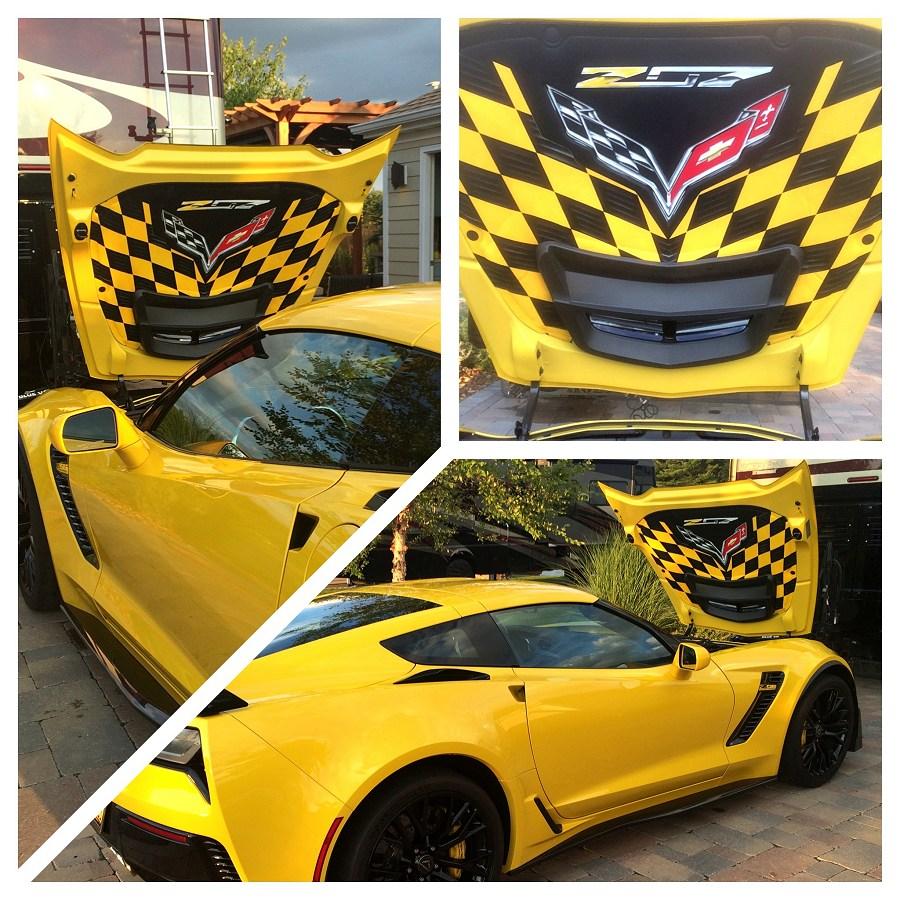 hight resolution of 2014 2019 c7 corvette z06 custom airbrushed hood liner z07