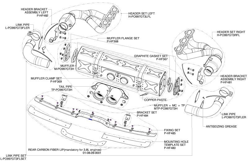 Porsche GT3 Race Headers and Exhaust-GT3 Akrapovic