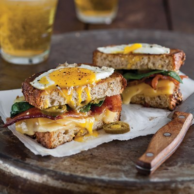 Grilled Cheese with Bacon, Spinach, Gouda, and Fried Egg