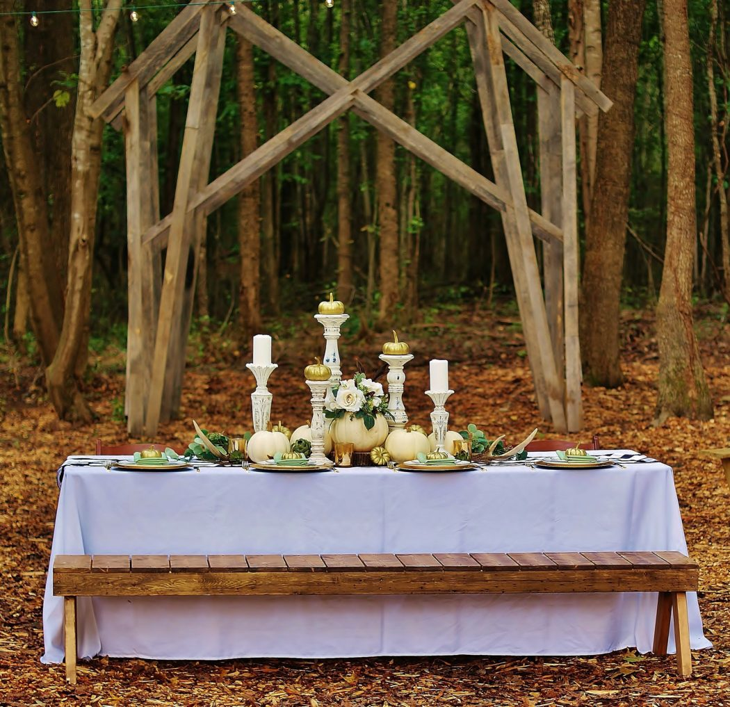 Our Black And White Table Runner And Splashes Of Gold Take Our White  Pumpkin Table Up A Notch In Class.