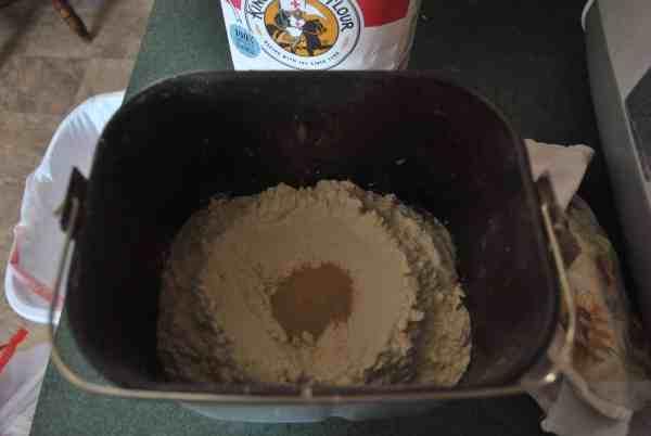 Ingredients in bread machine bread pan