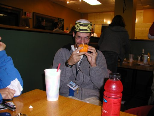 I really don't have any idea what's going on here, but the man has his own Waffle House hat. Please note, this picture was not taken in a Waffle House.