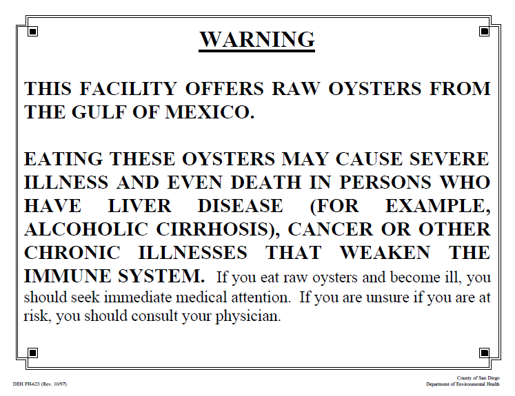 An example of a raw oyster warning posted in restaurants.