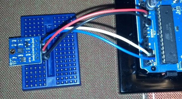 The compass module connected to an Arduino Uno.