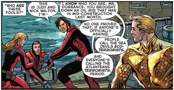 """Who are these fools?"" Aquaman 17. DC Comics."