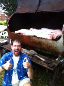 Other than removing the head and viscera, this is a whole pig on the grill. I was, obviously, extremely excited by the process, and for good reason- it was delicious.