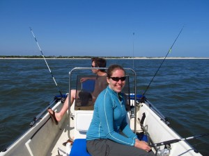 Fishing with Southern Fried Science writers Chuck Bangley and Amy Freitag.