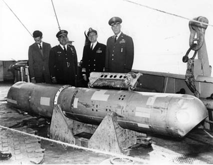 A B28 Hydrogen Bomb recovered by DSV Alvin. One of these is also at the bottom of the sea.