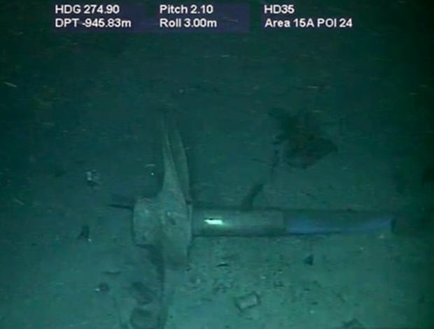 Part of the wreckage of the ARA San Juan submarine located one year after it vanished into the depths of the Atlantic Ocean. Photo: The Guardian